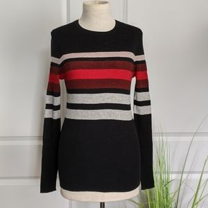 360 Sweater Ribbed Knit L/S Striped Fitted Black M